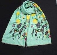 New Style Women Autumn Winter Cashmere Long Scarf Thick Warm Animal Horse Flower Soft Pashmina Wraps