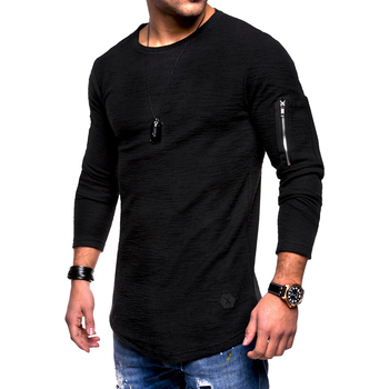 Men Sweater Casual long sleeve t-shirt solid color round neck