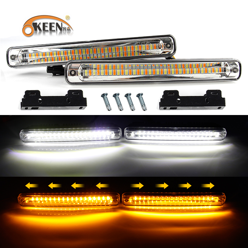 Qualified Okeen 2pcs Newest Sequential Flowing Car Led Daytime Running Light Drl Automobiles & Motorcycles Car Light Assembly Yellow Turn Signal Light Super White Drl Fog Lamp 12v Fashionable Patterns