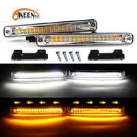 OKEEN 2PCS Newest Sequential Flowing Car LED Daytime Running Light DRL + Yellow Turn Signal Light Super White DRL Fog lamp 12V