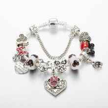Annapaer pulseira feminina, joia com pingente do mickey e da minnie, bracelete original com pingente de coração compatível com mulheres b19017