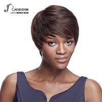 Joedir Hair Brazilian Virgin Hair Straight Color 2 Short Human Hair Wigs For Black Women Bob Lace Front Wigs With Hair Weaving
