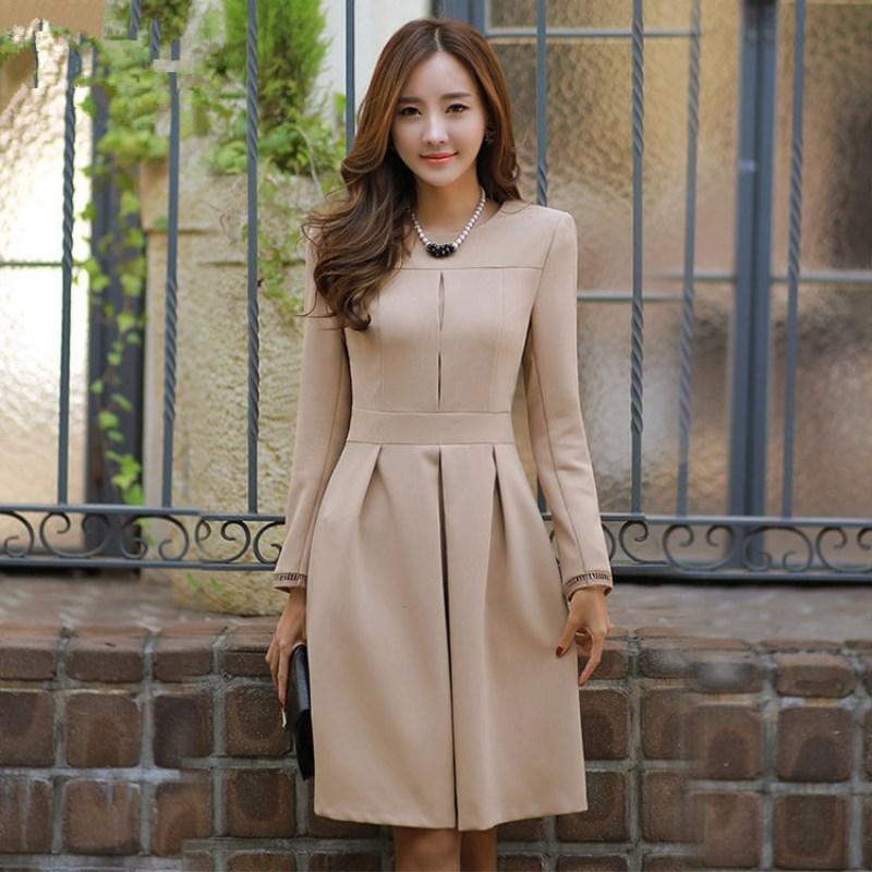New 2017 Autumn Winter Dress women long sleeve dress solid color Korean office dresses OL ...