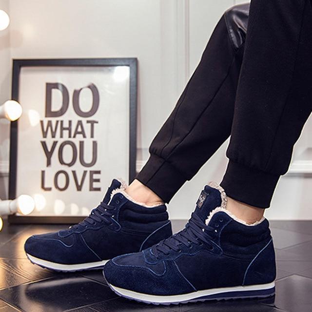 Stylish men boots ankle boots 2016 solid color plus velvet warm snwo boots shoes men