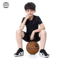 Brand Children Sports Suit Black Gym Fitness Clothing Running Short Sleeve T Shirt Long Pants For