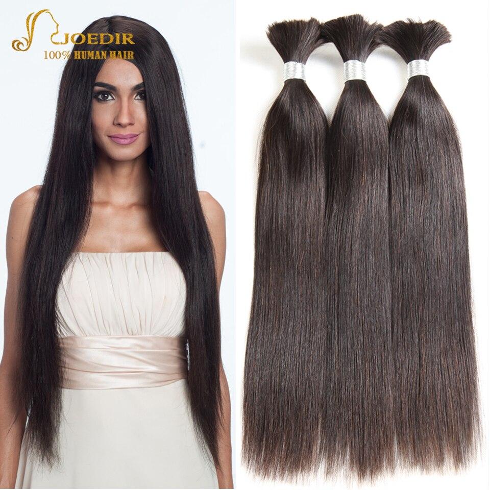 Joedir Indian Straight Hair Bulk Human Hair Bundles 8A Unprocessed Indian Hair Bulk 3 4 Bundles Deal Braiding Hair Extensions