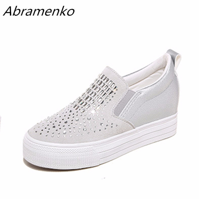 Abramenko Thick-Soled Shoes Platform Rhinestone Bling Casual Black White  Round Toe Shoes For Women Flats Loafers Plus Size 40 35ced15974b5