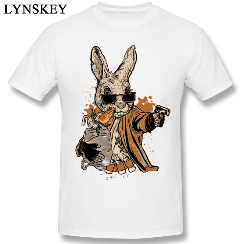 Fashion Tshirt Daring Arm T Shirt Crazy Mad Hare T-Shirts For Mens 100% Organic Cotton Smith The Rabbit Hold Gun Humor T-Shirt