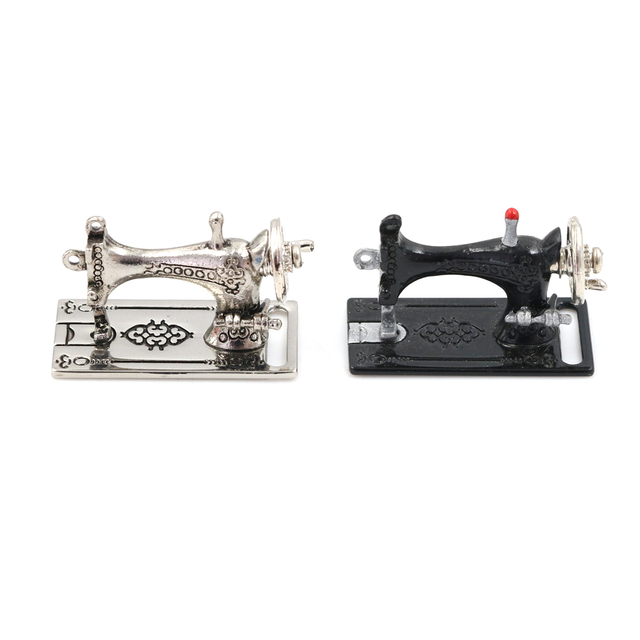 40402 Dollhouse Black Silver Sewing Machine Toys Gift For Kids Child Stunning Girls Sewing Machine