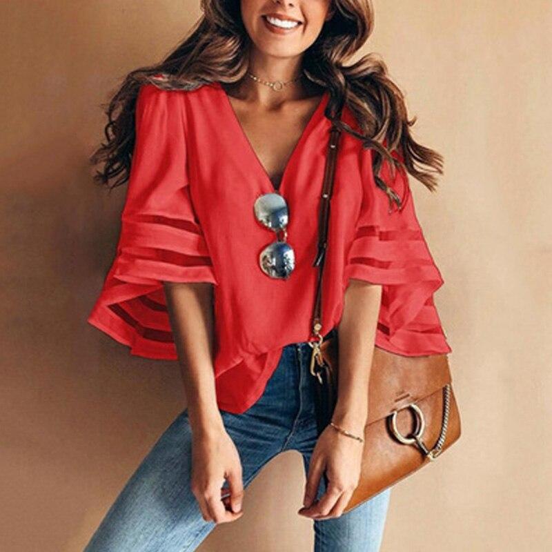 Women 3/4 Flare Sleeve Chiffon Blouse Summer Autumn V Neck Loose Tops Mesh Stitching Tunic Shirt Plus Size 3