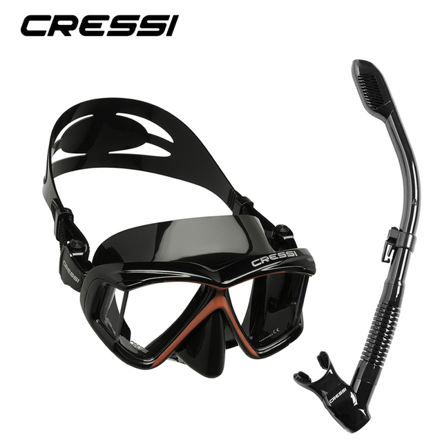 Cressi PANO4 + DRY Snorkeling Set Silicone Skirt Four-Lens Panoramic Scuba Diving Mask Dry Snorkel  for Adults