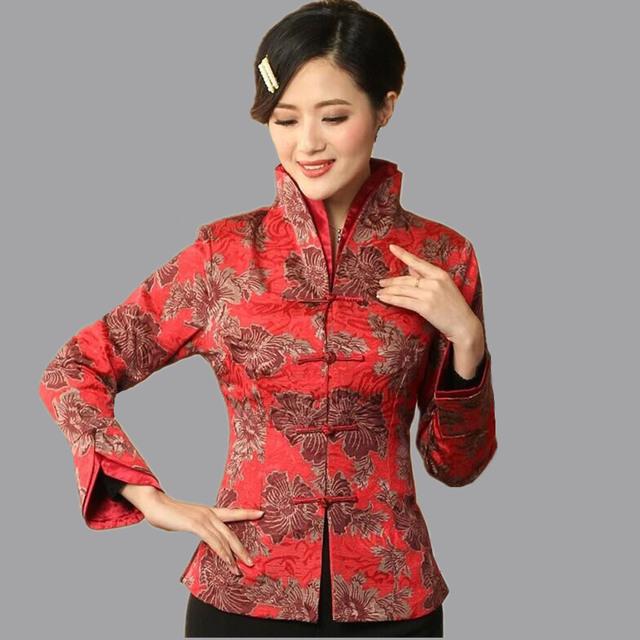 Alta qualidade Red mulheres do revestimento do algodão de linho tradicional estilo chinês casaco flores Mujer Chaqueta tamanho sml XL XXL XXXL Mny06B