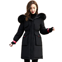 Plus Size 5XL 6XL Women Winter Jacket 2019 New Hooded With Fur Collar Female Down Coat Long Outwear Parka