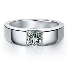 1Ct Принцесса Cut Роскошные синтетических алмазов кольцо для Для мужчин свадебные Обручение Кольцо стерлингового Серебряные ювелирные изделия Для мужчин