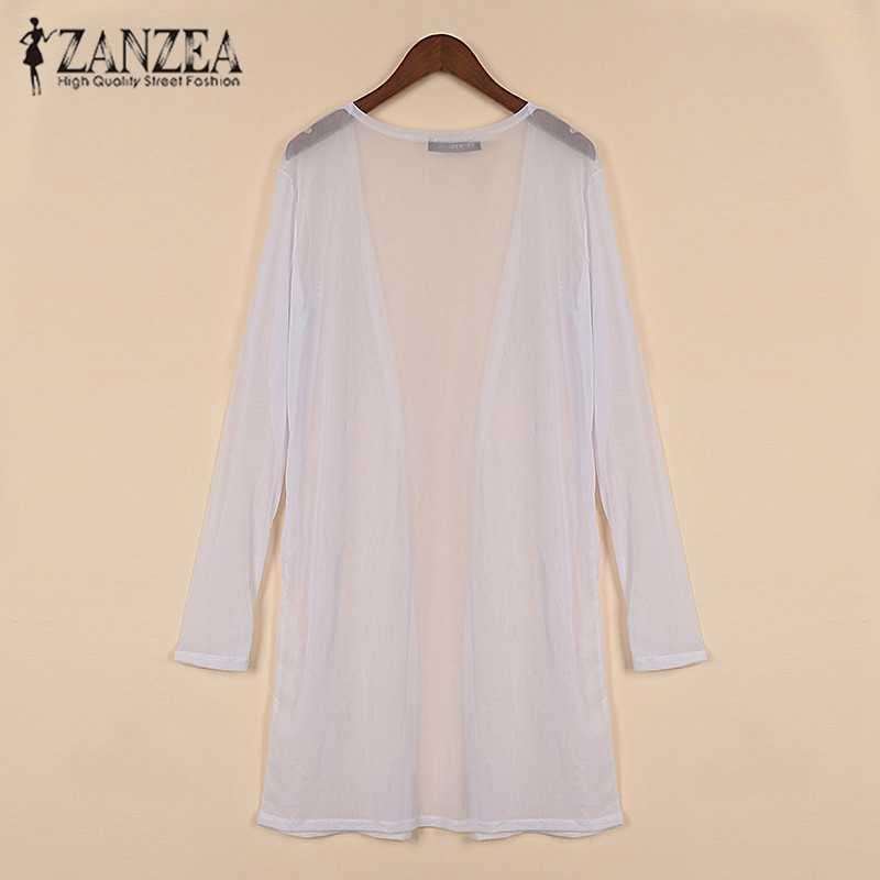 Новое поступление 2019, Летние Стильные женские повседневные свободные длинные прозрачные сетчатые топы, прозрачный открытый кардиган, однотонные рубашки, куртка, 2 цвета