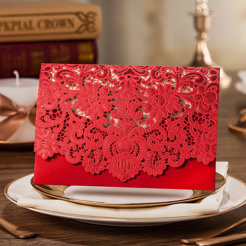 100 pcs Free shipping Hot Sale Red Invitation Cards,Red Laser Cut Wedding Invitations, Personalized Customized Free