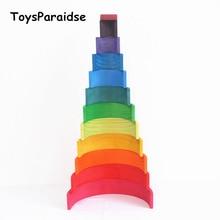 Baby Toys 12Pcs Rainbow Blocks Wooden Toys For Kids Large 84*35*18cm Creative Rainbow Building Blocks Montessori Educational Toy