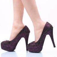 Dark Purple Rhinestone Wedding Party Shoes Size 42 43 And 44 Super High Heel Stiletto Heel