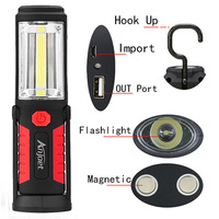 18650 COB Torch Charging Linterns LED RechargableUSB Flashlight Work Light Magnetic HOOK With Mobile Power Function