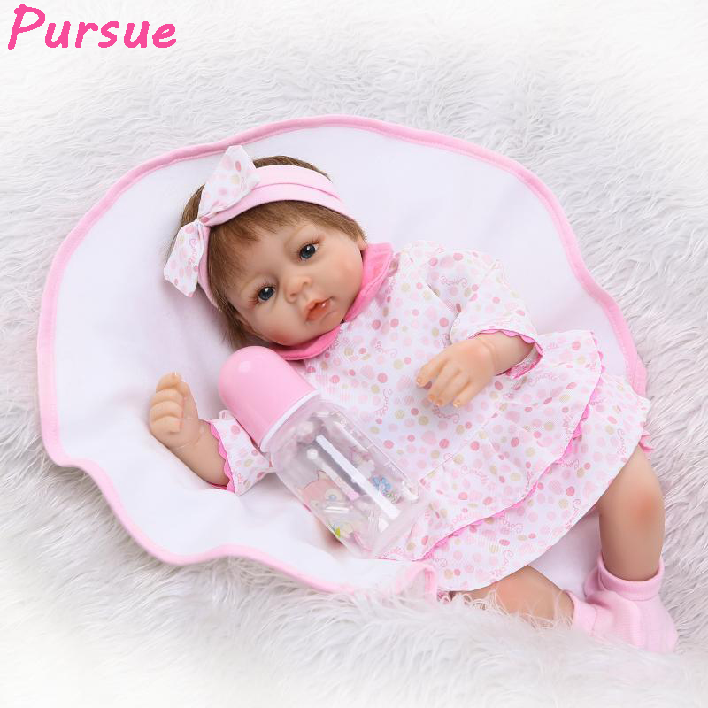 Pursue 17/43 cm Cute Pink Baby Reborn Doll Toys Play House Toys for Girl brinquedos Silicone Reborn Babies Early Education Doll cute elephant style baby polyester music box doll blue orange pink