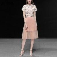 Seifrmann Новый Для женщин летние комплекты взлетно посадочной полосы Модельер кружева цветочной вышивкой пальто + Mesh Overlay Skirt элегантный Двойка