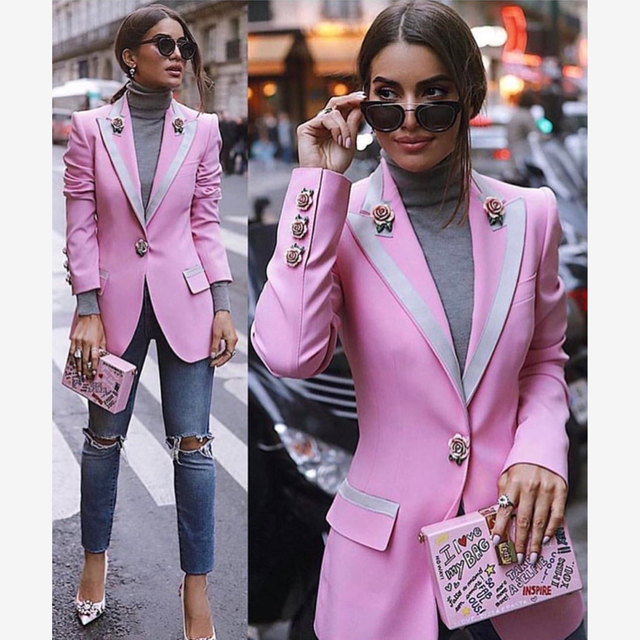 Fashion 2019 Spring Runway Designer Pink Jacket Women Long Sleeve Floral Lining Rose Buttons Outer Coat Jacket Clothes
