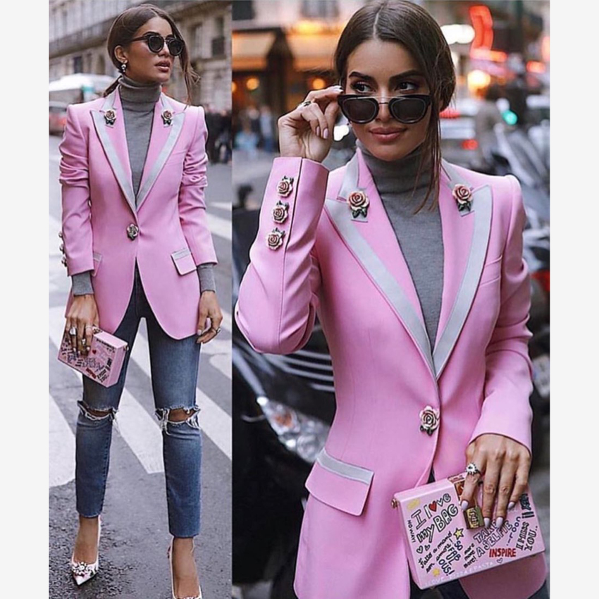 HIGH STREET Newest Fashion 2019 Designer Blazer Women's Long Sleeve Floral Lining Rose Buttons Pink Blazer Outer Jacket