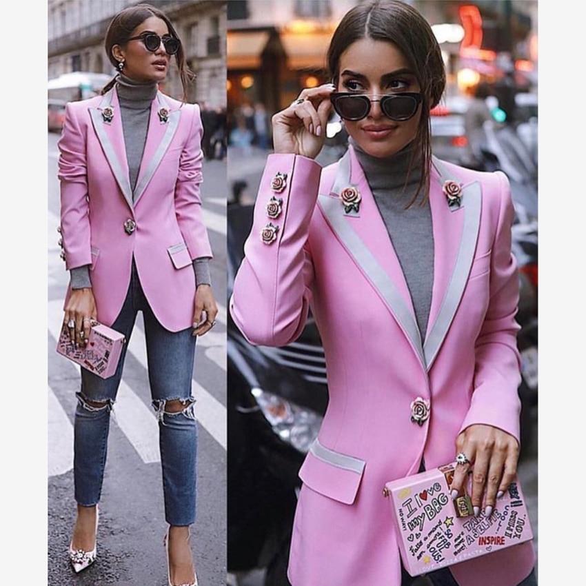 HIGH STREET Newest Fashion 2020 Designer Blazer Women's Long Sleeve Floral Lining Rose Buttons Pink Blazer Outer Jacket