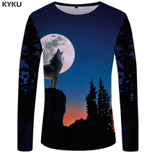 KYKU Brand Wolf T shirt Men Long sleeve shirt Mountain Hip hop Moon Funny T shirts Sky Cool Tree Rock Japan Mens Clothing New british style old tree and single wolf pattern t shirt for men m