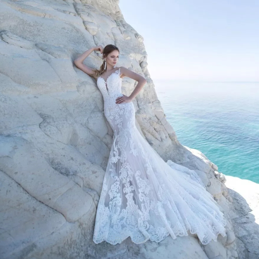 Robe De Mariee Sleeveless Tulle Boho Mermaid Wedding Dresses 2019 With Shawl Brautkleid Open Back Sexy Vestido De Novia Sirena