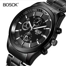 BOSCK marca cuarzo de los hombres reloj de acero llena de Lujo A Prueba de agua reloj de los deportes de los hombres Delgados Ocasionales de negocio de la moda reloj relogio masculino