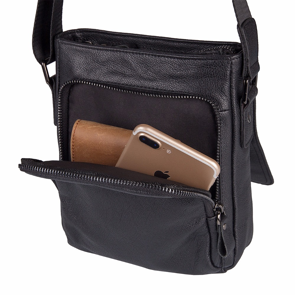 J.M.D First Layer Cow Leather Flap For Men's That Carrying Phone / Wallets / Notebook Black Messenger Bag Croosbody Bag 1033A j m d first layer cow leather flap bag classic and fashional messenger bag tiny cross body bag for young 7109c