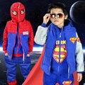2016 Novas Crianças Roupas de Inverno Meninos Superman Spiderman roupa Esportiva camisola Crianças tracksuits Calças Hoodies Colete de Cashmere