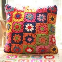Beautiful Outdoor Patio Chair Cushions For Wicker Furniture Original Hand Crochet Country Garden Floral Floor Cushions