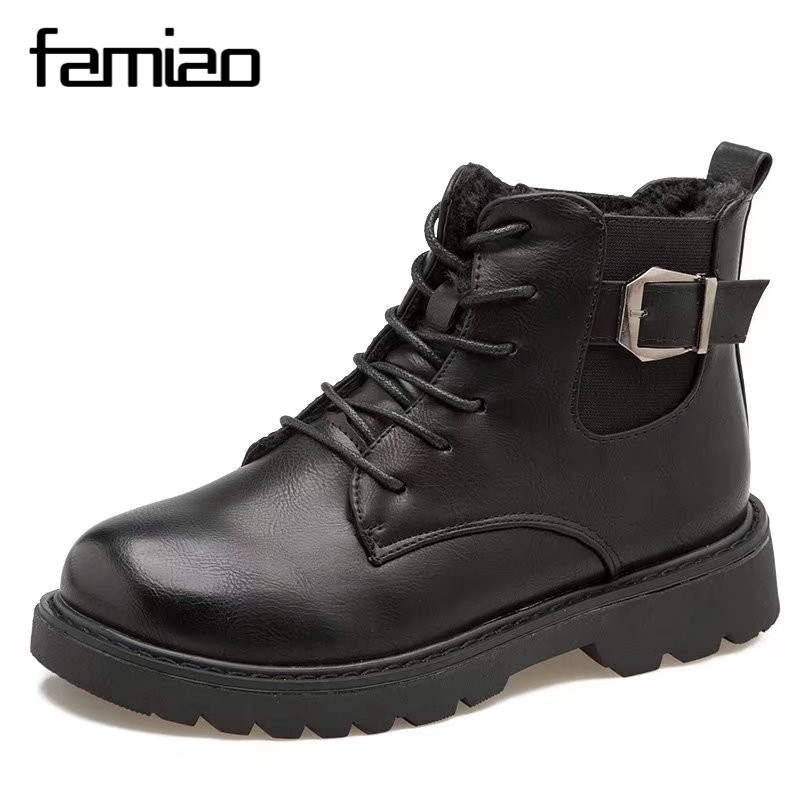 FAMIAO  Women Boots Lace up Solid Casual Ankle Boots Martin Round Toe Women Shoes winter snow boots warm british style