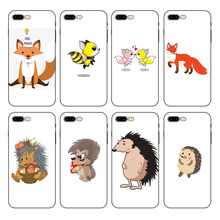 HOUSTMUST Lovely Fox Cartoon Animals Phone Case cover Shell For iPhone 8 8plus XS max XR 7 7plus 6 6s plus 5 5s SE phone case