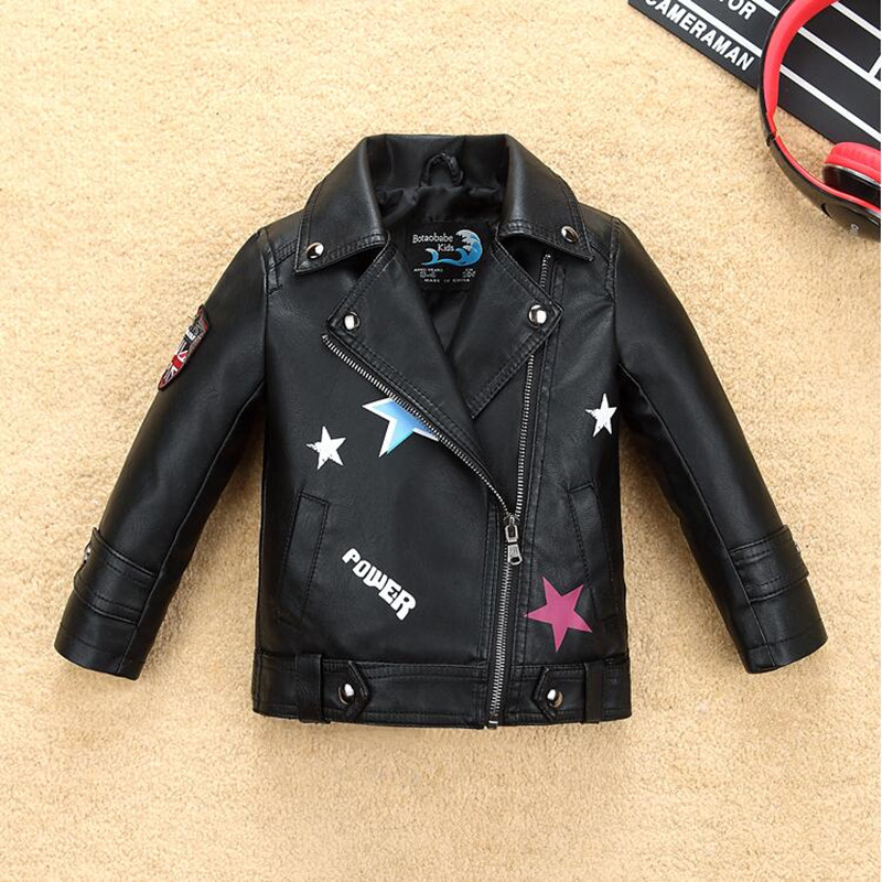 Infant Girls Jacket Coat Kids Leather Jacket Girls Spring Autumn Waterproof Windproof Coat Printing Star Letters Pattern Jacket