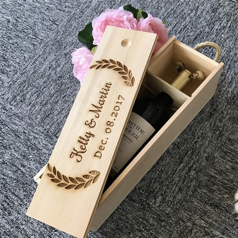 Wine For Wedding Gift: Personalized Wooden Wine Box Wedding Anniversary Gift Box