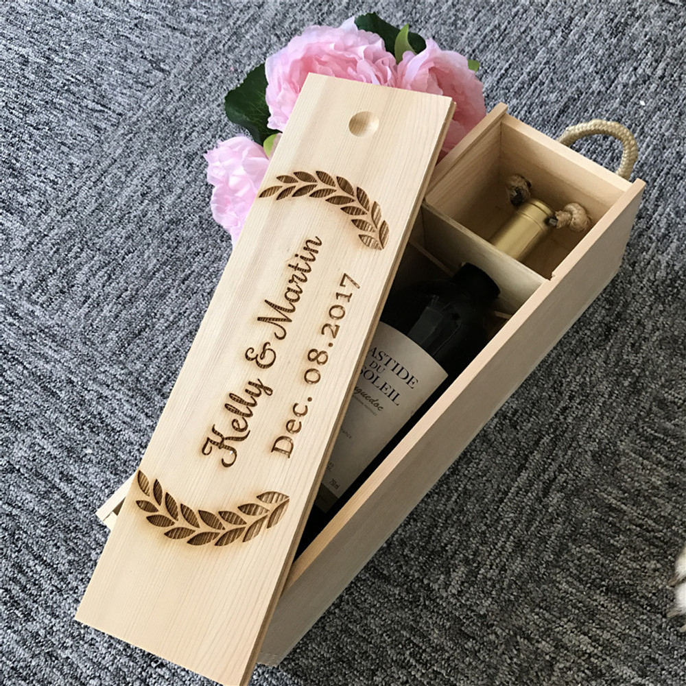 Personalized Wooden Wine Box Wedding Anniversary Gift Box Customized Champagne Bottle Holder, Engraved Name Wooden Gift Box