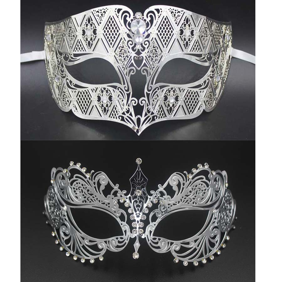 Mens Diamond Pattern Phantom of the Opera Venetian Masquerade Ball Mask Red