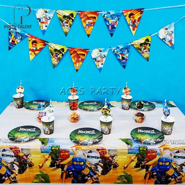 Articles de fête 62 pcs pour 12 enfants Ninjago thème de fête d