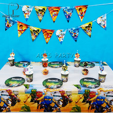 Party supplies 62pcs for 12kids Ninja theme birthday party decoration tableware set, plate+cup+straw+banner+tablecover+topper(China)