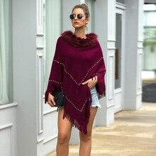HEE GRAND New Sweaters 2019 Faux fur Collar Pullovers Autumn Knitted Outwears Elegant Beading Cloaks Purple Tassel Wraps WZL1511 недорого