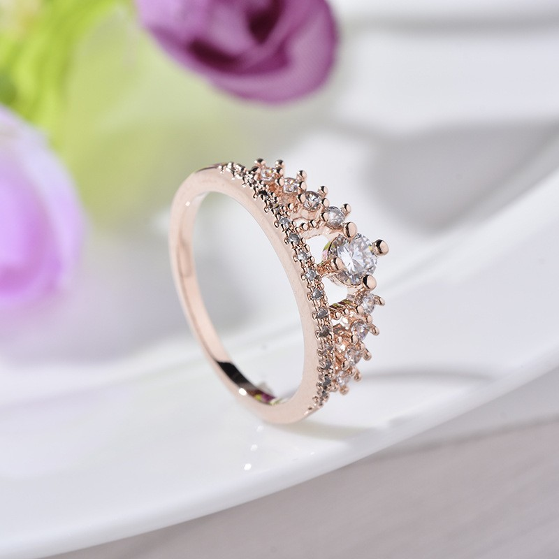 Engagement Party Ring New Fashion Crystal Rhinestone Crown Rings For Women Party Cute Elegant Luxury Sliver Plated Rings 9