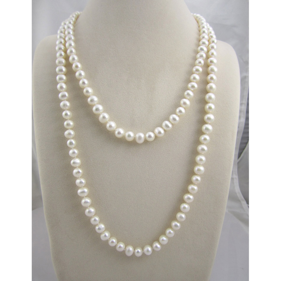 Free Shipping Long Natural Freshwater Pearl Necklace For Women 8-9MM Nearround Classic Cultured Pearl цена и фото