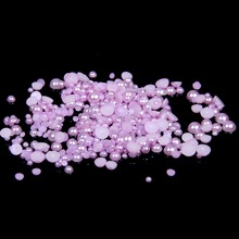 2mm~14mm All Size Lt.Amethyst Color Flat back ABS round Half Pearl beads, imitation plastic half pearl beads цена