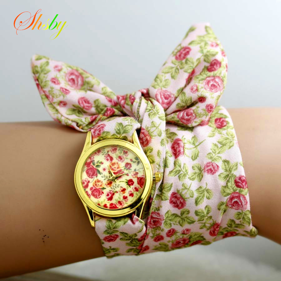 shsby new style sweet chiffon fabric girls watch floral women dress watches fashion Quartz watch Ladies flower cloth wristwatch