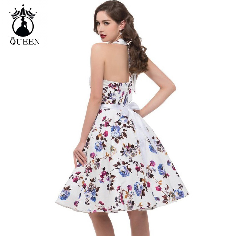 517473bee30 Vintage Rockabilly Dresses Women 50s 60s Party Floral Print Summer Casual  Dress Pinup Swing Audrey Hepburn Dress 2018 Vestidos