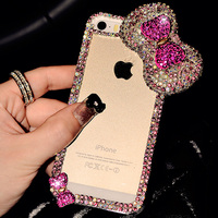 3D Luxury Bling Transparent Crystal Diamond Case Rhinestones Cover Bow Fashion Designed For Apple Iphone 6