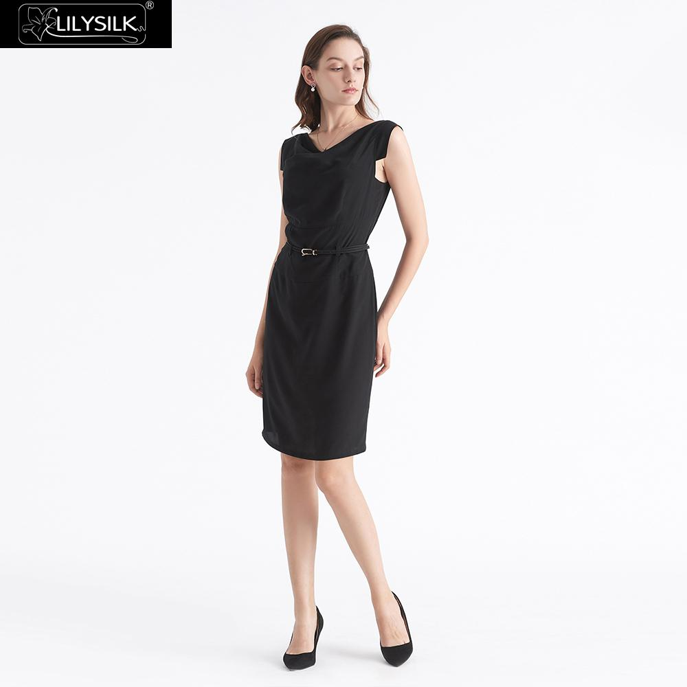 2f2e1dfdcdbed US $89.99 30% OFF|Aliexpress.com : Buy LilySilk Dress Little Black Silk  Sleeveless With Belt Royal Style Ladies Free Shipping from Reliable Dresses  ...